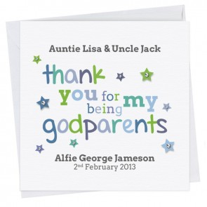 Alfie Thank You Godparents Card